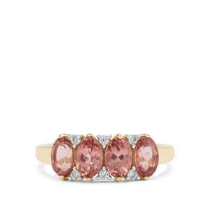 Rosé Apatite & White Zircon 9K Gold Ring ATGW 2.25cts