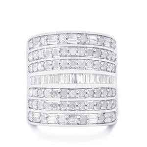 2ct Diamond Sterling Silver Cuff Ring