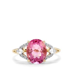 Natural Pink Fluorite & White Zircon 9K Gold Ring ATGW 3.39cts