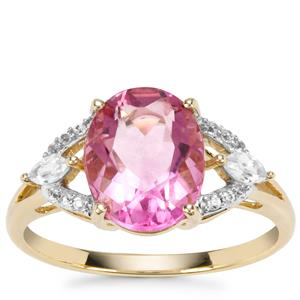 Natural Pink Fluorite Ring with White Zircon in 9K Gold 3.39cts