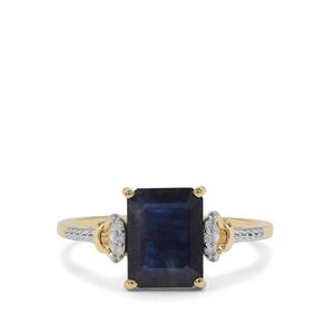 Ethiopian Blue Sapphire Ring with Diamond in 9K Gold 2.42cts