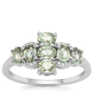 Green Sapphire Ring with Diamond in 9K White Gold 1.79cts