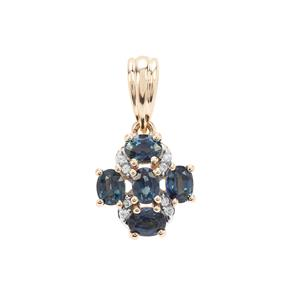 Australian Blue Sapphire Pendant with White Zircon in 9K Gold 1.21cts