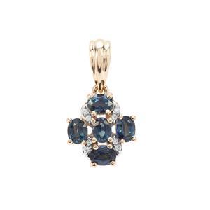 Australian Blue Sapphire & White Zircon 9K Gold Pendant ATGW 1.21cts