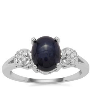 Madagascan Blue Star Sapphire Ring with White Zircon in Sterling Silver 3.26cts