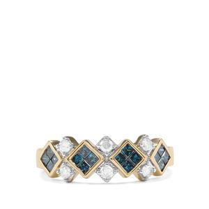 3/4ct Blue & White Diamond 10K Gold Tomas Rae Ring