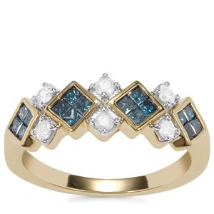 Blue Diamond Ring with White Diamond in 10K Gold 0.76ct