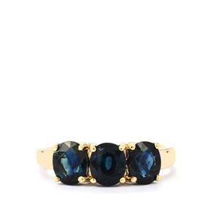 Australian Blue Sapphire Ring in 10K Gold 2.90cts