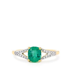 Zambian Emerald Ring with Diamond in 14k Gold 1.21cts