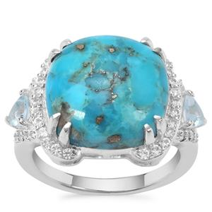 Bonita Blue Turquoise, Blue Topaz Ring with White Zircon in Sterling Silver 9.51cts