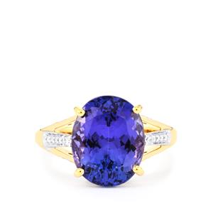 AAA Tanzanite Ring with Diamond in 18k Gold 6.67cts