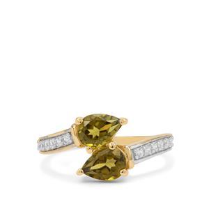 Arizona Peridot & White Zircon 9K Gold Ring ATGW 1.90cts