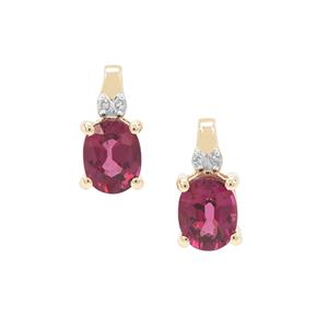 Comeria Garnet Earrings with Diamond in 9k Gold 1.90cts