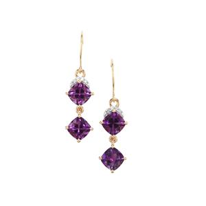 Moroccan Amethyst Earrings with Diamond in 9K Gold 3.68cts