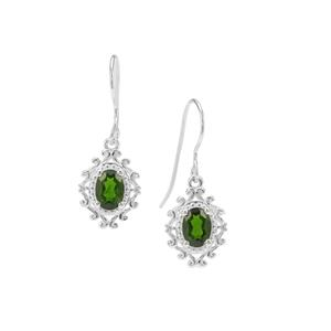 Chrome Diopside Earrings with White Zircon in Sterling Silver 1.56cts