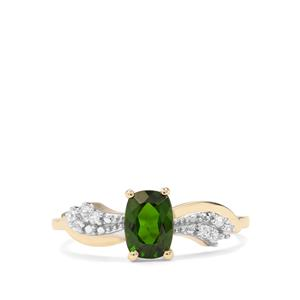 Chrome Diopside & White Zircon 9K Gold Ring ATGW 1.10cts