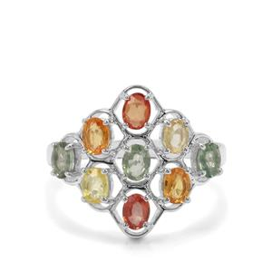 2.15ct Songea Rainbow Sapphire Sterling Silver Ring