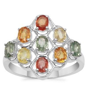 Songea Rainbow Sapphire Ring in Sterling Silver 2.15cts