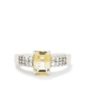 Bi-Colour Citrine & White Topaz Sterling Silver Ring ATGW 2.03cts