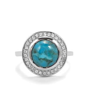 Bonita Blue Turquoise Ring with White Topaz in Sterling Silver 4.25cts