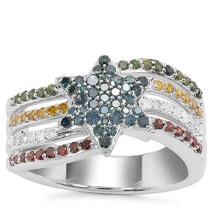 Multi-Color Diamond Ring with in Sterling Silver 0.80ct