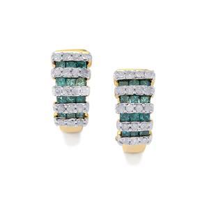 Blue Diamond Earrings with White Diamond in 10K Gold 0.77ct