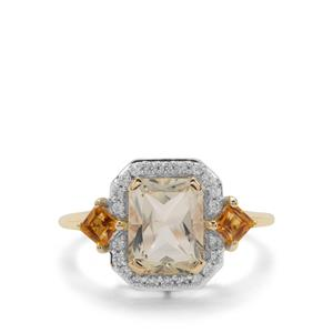 Serenite, Diamantina Citrine Ring with White Zircon in 9K Gold 2.60cts