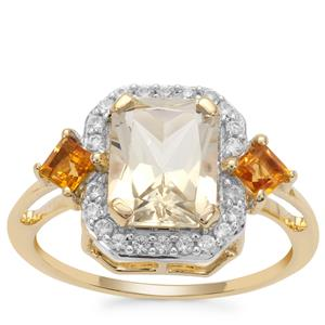 Serenite, Diamantina Citrine Ring with White Zircon in 9K Gold 2.60cts