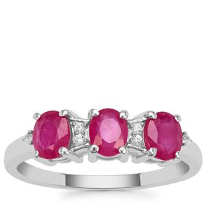 Kenyan Ruby Ring with White Zircon in Sterling Silver 1.50cts