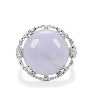 Blue Lace Agate & White Zircon Sterling Silver Ring ATGW 14.10cts