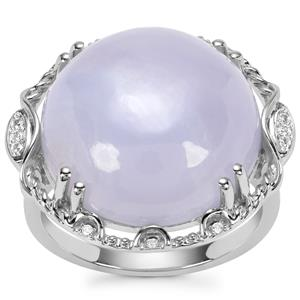 Blue Lace Agate Ring with White Zircon in Sterling Silver 14.10cts