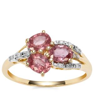 Padparadscha Sapphire Ring with Diamond in 10K Gold 1.60cts