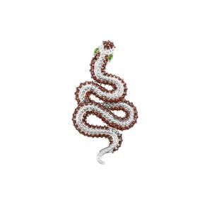 Chrome Diopside Snake Design Pendant with Anthill Garnet in Sterling Silver 1.70cts