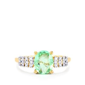 Paraiba Tourmaline Ring with Diamond in 18k Gold 1.50cts