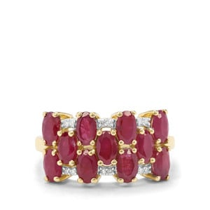 Burmese Ruby & Diamond 9K Gold Tomas Rae Ring ATGW 3.74cts
