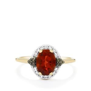 Tarocco Red Andesine, Champagne Diamond & White Zircon 9K Gold Ring ATGW 1.18cts