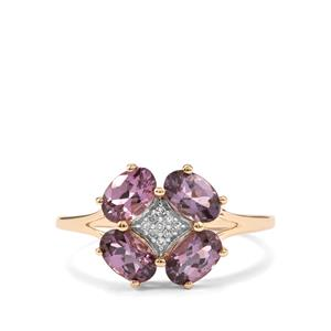 Mahenge Purple Spinel Ring with Diamond in 9K Gold 1.88cts