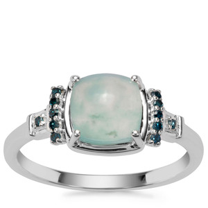Gem-Jelly Aquaprase™ Ring with Blue Diamond in Sterling Silver 1.46cts
