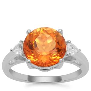 Padparadscha Quartz Ring with White Zircon in Sterling Silver 4.06cts