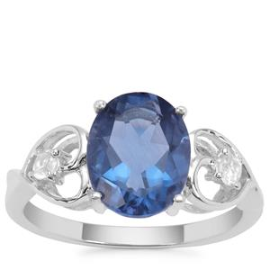 Colour Change Fluorite Ring with White Zircon in Sterling Silver 3.21cts