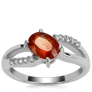 Loliondo Orange Kyanite Ring with White Topaz in Sterling Silver 1.66cts