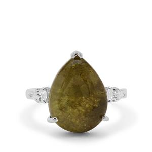 Grossular Ring with White Zircon in Sterling Silver 12.10cts