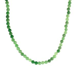 Green Jade Slider Necklace in Sterling Silver 139cts