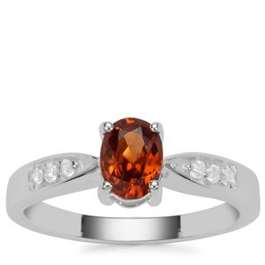 Cognac Zircon Ring with White Zircon in Sterling Silver 1.07cts