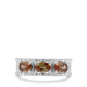 Sopa Andalusite & White Zircon Sterling Silver Ring ATGW 1.36cts