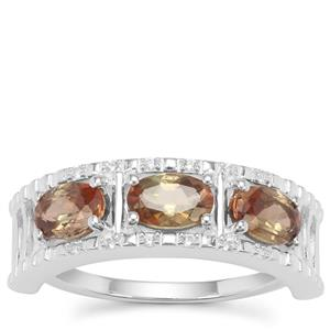 Sopa Andalusite Ring with White Zircon in Sterling Silver 1.36cts