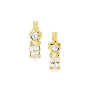Ceylon White Sapphire Earrings in 10k Gold 0.61cts