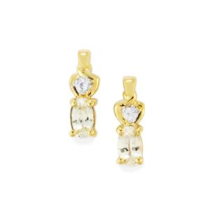 Ceylon White Sapphire Earrings in 9K Gold 0.61cts