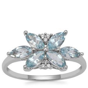 Santa Maria Aquamarine Ring with White Zircon in 9K White Gold 1.25cts