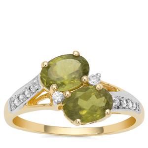 Vesuvianite Ring with White Zircon in 9K Gold 1.81cts